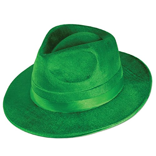 Club Pack of 12 Green Vel-Felt St. Patrick's Day Fedora Hat - Adult Sized