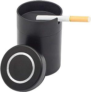 NOSTAFY Alloy Aluminum Windproof Enclosed Home Ashtrays, Car holder Cigarette Ashtray, Automatically Extinguished with Lid Designed