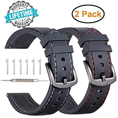 Gear S3 Frontier/Classic Silicone Watch Bands,Adeals 2-Pack 22mm Width Quick Release Silicone Watch Strap Band Compatible for Samsung Gear S3 Frontier Classic Galaxy Watch 46mm(Silicone,2 in 1)