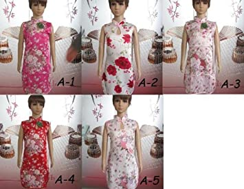 asian indian Chinese Girls dress Silk Cheongam Prom Qipao gown flora Party dress 1-9