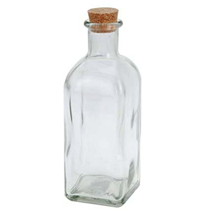 Botella de cristal cuadrada con corcho, aprox.