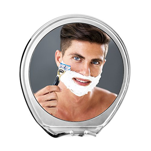 JiBen Fogless Shower Mirror with Power Locking Suction Cup, Built-in Razor Hook and 360 Degree Rotating Adjustable Arm, Personal Fog Free Bathroom Shaving Mirror (Chrome) Shaving Mirror
