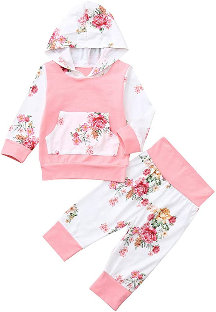 Pants Sweet Clothes Sets kaiCran Toddler Newborn Baby Girls Floral Outfits Long Sleeve Hooded Tops