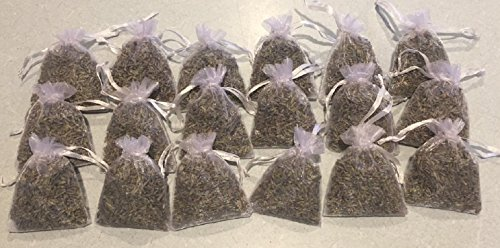 Set of 18 French Lavender Sachets for Drawers Pillow Car Aromatherapy All Natural Lavender Soft Lavender Fragrance for Small Enclosed Places Filled with Natural Premium Lavender Buds