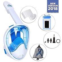 Full Face Snorkel Mask - Diving Mask with Tubeless, Anti-Fog & Anti-Leak Design - 180 ° Panoramic Viewing - Free Universal Waterproof Case for Phone & Earplugs - GoPro Adapter