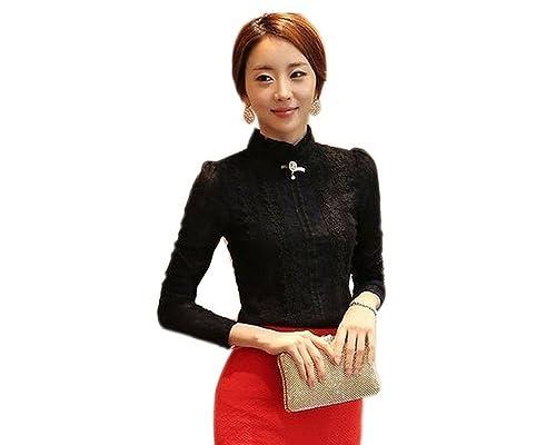 Minetom Mujer Elegante Cordón Blusa Manga Larga Slim Fit Camisas OL Negocio Tops Shirts