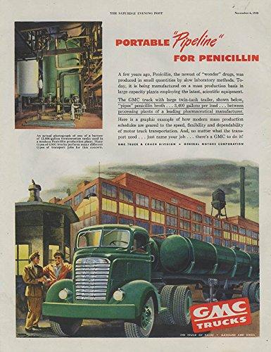 (Portable Pipeline for Penicillin GMC Twin-Tank Trailer Truck ad 1948 SEP)