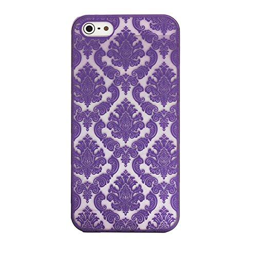 Sannysis für iphone 6 4.7inch; Geschnitzte Damast-Weinlese-Muster Matte Hard Case (lila)