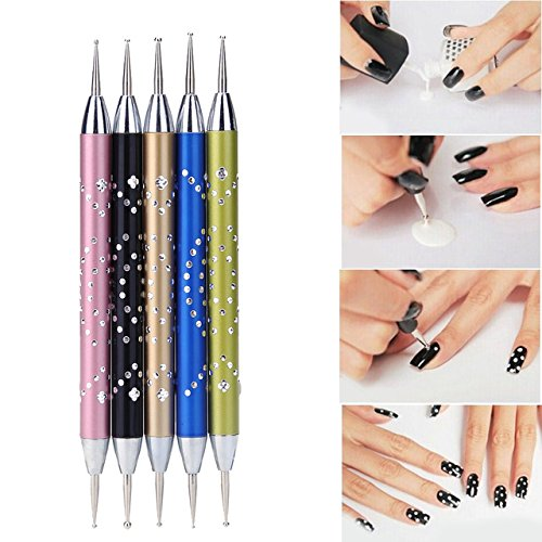Nail Art Pen - 5 Pieces/Set Nail Art Dotting Pen Double-head Nail Dotting Hook Metal Manicure Dot Painting DIY Design Fingernail Art Tools