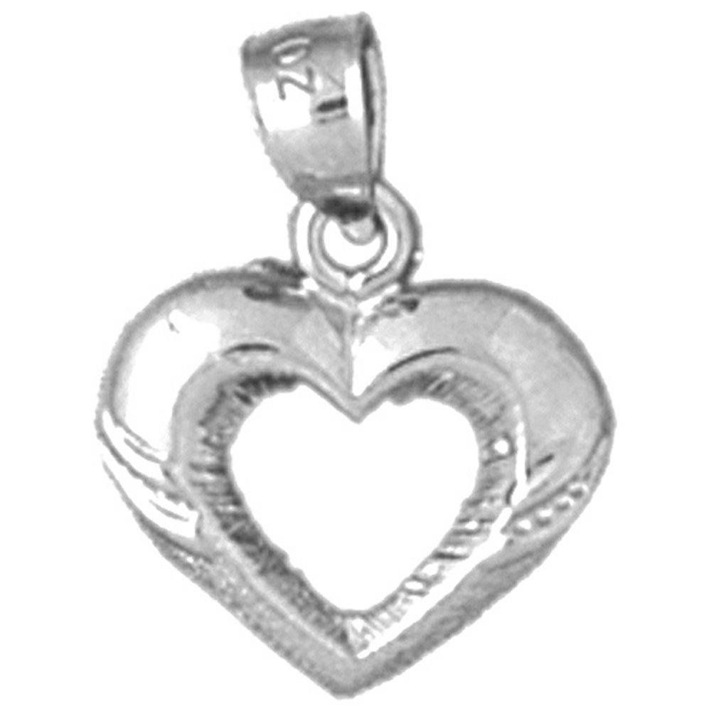 17 mm 14K White Gold Heart Pendant Jewels Obsession Heart Charm Pendant