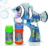 Haktoys (New Edition) 1800F Cartoon Fish Bubble Shooter Gun Transparent with LED Lights