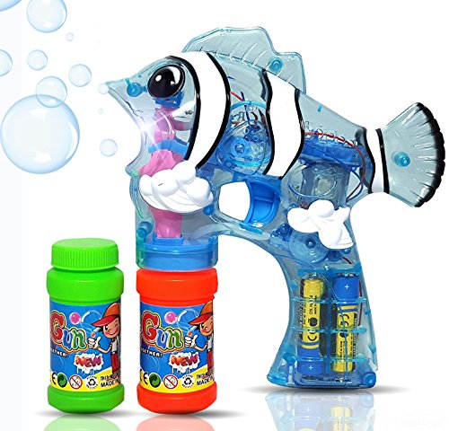 Haktoys Cartoon Nemo Fish Bubble Gun Shooter Light Up Blower | Toy Bubble Blaster for Toddlers & Kids | LED Flashing Lights, Extra Refill Bottle, Sound-Free, Batteries Included (Colors May Vary)