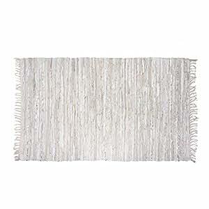 Homescapes–Piel Brillante Alfombra Plata natural de tiras de piel real y diseo recicladas hilo, beige, 66 x 200 cm