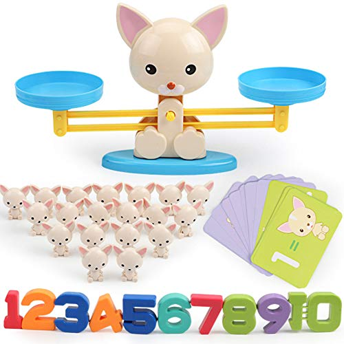 shengyuze Learning & Education Toys Cartoon Animal Number Balancing Scale Math Game Toddler Early Educational Toy for Boys and Girls Hobbies Game - Dog# from shengyuze