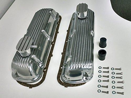 SB Ford Finned Aluminum Valve Cover w/ Breather Kit SBF V8 260 289 302 351W
