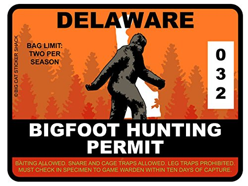 Bigfoot Hunting Permit - DELAWARE (Bumper Sticker)