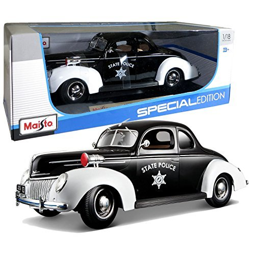 1939 Ford Coupe - Maisto Special Edition 1939 Ford Deluxe Coupe Police Vehicle Diecast 1:18 Scale