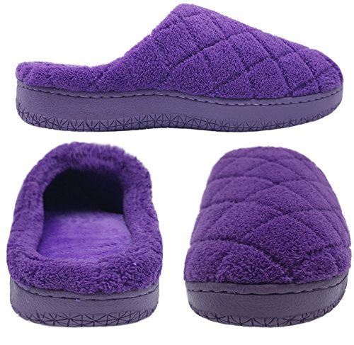 Indoor House Mens Coral Finoceans Slippers Womens Purple Outdoor Shoes Fleece Soft Memory Foam Grid vqwwR6x