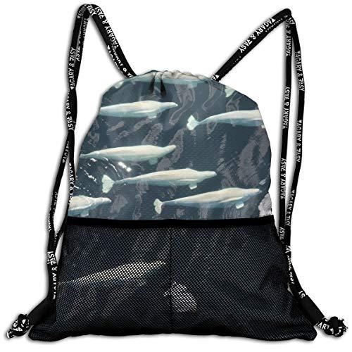 Drawstring Backpacks Fish Belugawhales Leisure Bundle Backpack Beam