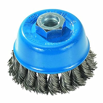 "Walter 13F354 Knot Twisted Wire Cup Brush, Threaded Hole, Carbon Steel, 3"" Diameter, 0.020"" Wire Diameter, 5/8""-11 Arbor, 12000 Maximum RPM"