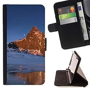 Momo Phone Case / Flip Funda de Cuero Case Cover - Naturaleza Moon Mountain - Samsung Galaxy S6