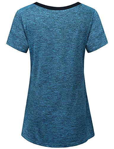 Miusey Shirts for Women, Ladies Summer Short Sleeve Yoga Workout Lightweight Gym Activewear Small Petite Round Neck Easy Fit Fitness Breathable Comfortable Outwear Blue M by Miusey (Image #1)