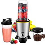 CHULUX Smoothie Bullet Blender Maker, 1000W High Speed Coffee Grinder with Blending and Grinding Blades, Tritan 35+15 OZ Travel Bottles for Shakes, Frozen Fruit, Baby Food,Spices,Low Noisy