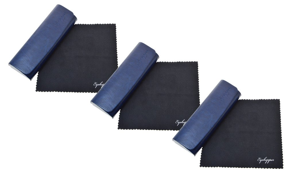 Blu, 1pc Eyekepper Gli uomini donne Metallo occhiali caso con panno morbido in microfibra Scatola occhiali