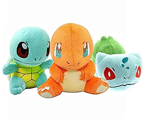 Prime Pokeworld Mega Bulbasaur Charmander Squirtle Plush Toys Stuffed Doll Set With (Plush Starter Game)