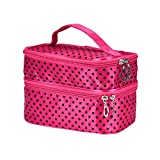 Futemo Women Girls Portable Cosmetic Bag Handy Organizer Large Capacity Makeup Case Toiletry Pouch Zip Bag (Hot Pink)