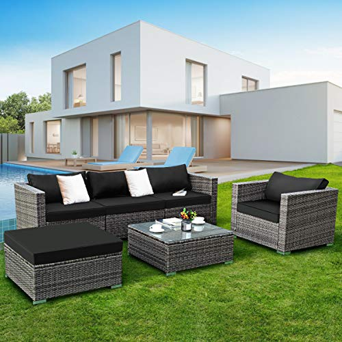 Tangkula 6PCs Patio Rattan Furniture Set Modern Outdoor Garden Lawn Wicker Rattan Sofa Set PE Gray Rattan Couch 2 Set Cushion Covers