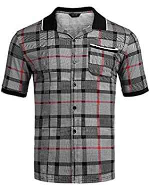Men's Casual Plaid Ribbed Collar Short Sleeve Button Down Shirt with Pocket