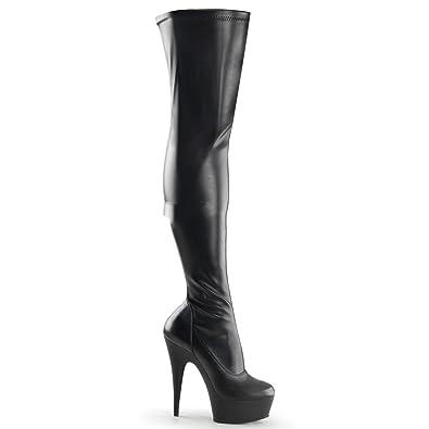 Pleaser Delight-3000 - Sexy Plateau High Heels Overknee Stiefel 36-45, Größe