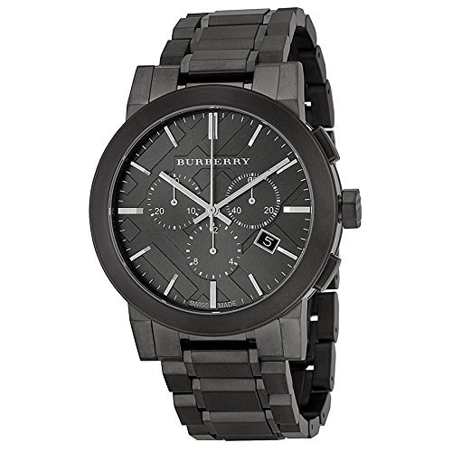 Swiss Burberry LUXURY Chronograph Watch Men Unisex The City Ion-Plated Gunmetal Date Dial - Burberry Man Bag For
