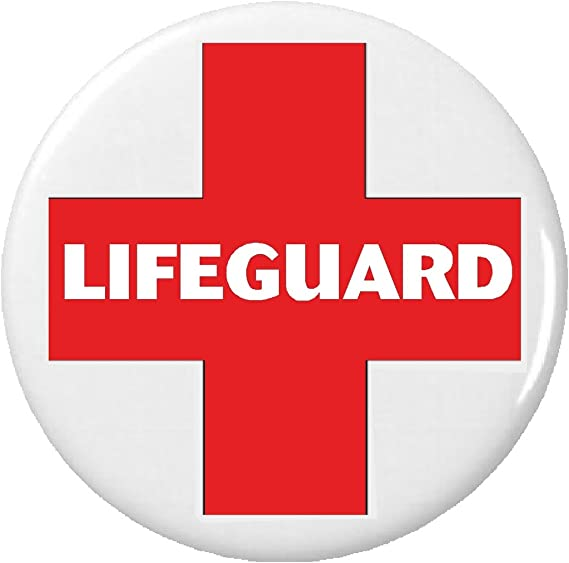 Amazon Classic Lifeguard Symbol Sign Button Pin Red White