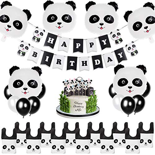 Panda Party Supplies Birthday Decorations Panda Decorations Balloons for Kids Happy Birthday Banner and Favor Bags Panda Bear Birthday Decor Bear Party Set ()