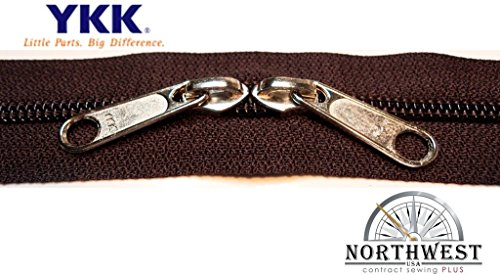YKK #5 CN Zipper coil chain. Each yard comes with 2 sliders. (Walnut, 5 yard, 10 nickel sliders)
