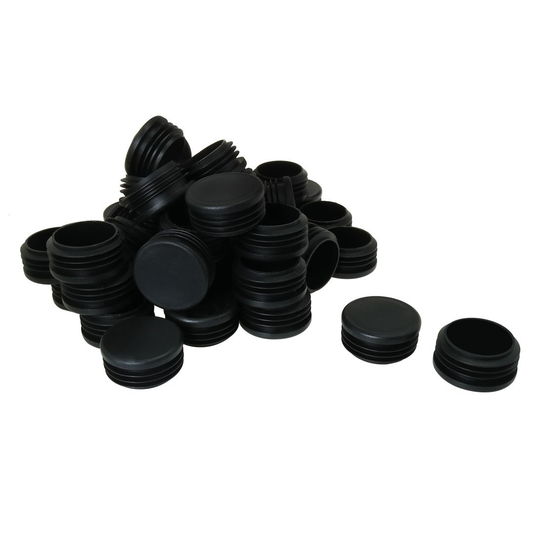 uxcell 1 3/4'' 1.77'' OD Plastic Round Tube Insert Glide End Cap Pad 45pcs 1.61''-1.69'' Inner Dia for Furniture Floor Deck Non-scratch