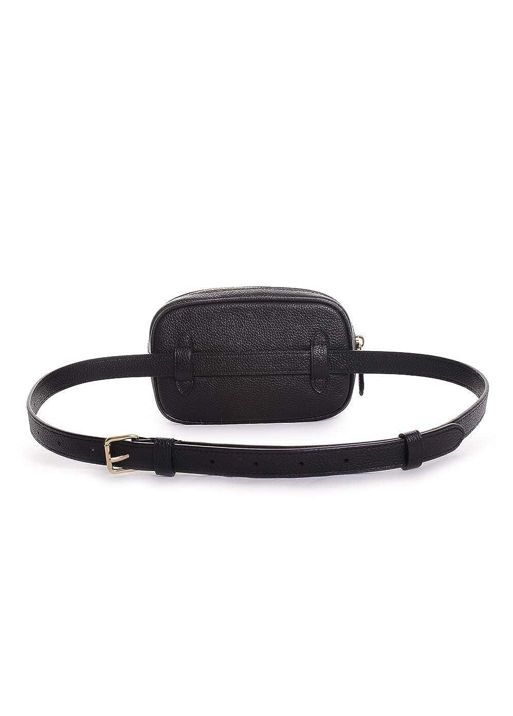 b1b0ea05522d Amazon.com  COACH Women s Polished Pebble Dressy Belt Bag Black Gold One  Size  Clothing