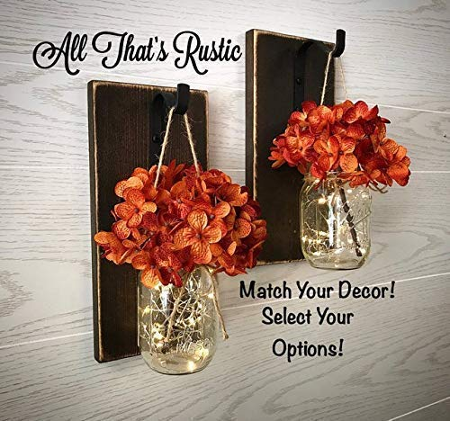 Set of 2 Hanging Mason Jar Wall Sconces, Fall Decor, Fall Mason Jar Sconces, Lighted Mason Jar Sconces, Fairy Lights with Timer, Mason Jar Sconce, Mason Jar Wall Decor, Wall Decor, Farmhouse Decor