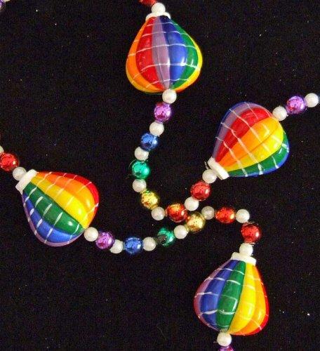 Hot Air Balloon Rainbow Balloons Mardi Gras Bead Necklace Spring Break Cajun Carnival Festival New Orleans Beads (Rainbow Mardi Gras Beads)