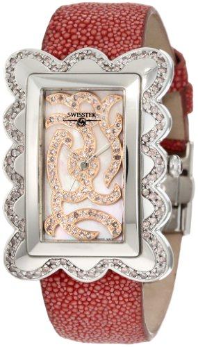 Diamond Pink Stingray - Swisstek SK47802L Limited Edition Swiss Pink Diamond Watch With Mother-Of-Pearl Dial, Genuine Stingray
