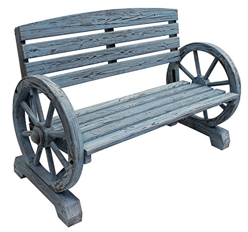 (Leigh Country TX 93974 Blue Wash Wagon Wheel Wooden Bench)