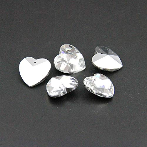 ZAMTAC 50pcs Coating Silver 28mm Heart Shape in One Hole Glass DIY Beads Accessories Crystal Lighting Hanging Prism Pendant Beads