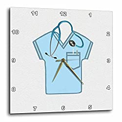 3dRose dpp_184075_1 Blue Scrub Top, Stethoscope, Thermometer and Syringe Wall Clock, 10 by 10