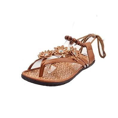 Ouneed® Damen Sommer flachen Sandalen Slipper Böhmen Schuhe Schuhe Flip Flops Erwachsene Damen Zehentrenner (Größe 38 Fuß Länge 23.5-24cm / 9.2