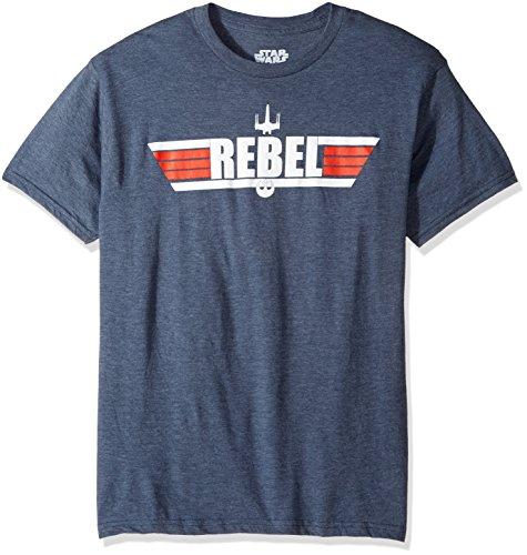 Star Wars Men's Top Logo with Rebel Alliance Starbird Insignia T-Shirt, Navy Heather, Large
