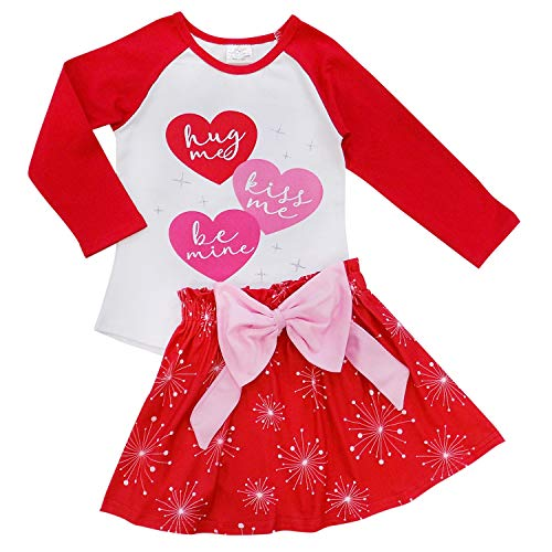 So Sydney Suspender & Skirt 2 Piece Outfit, Girls Toddler Winter & Spring Holiday Dress Up Boutique Outfit (7, Triple Heart) -