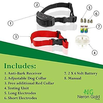 Neron Gold Pets No Bark Dog Collar For Bark Control   7 Levels of Sensitivity   For Medium Large Or Small Dogs   No Harm Warning Beep & Shock Anti Bark Training Collar(Black)   Gift:Stylish Red Collar