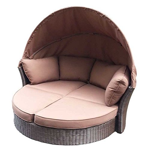 Creative Living 10093365 South Seas Daybed Loveseat Wicker Set, Brown